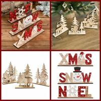 Christmas Decorations For Home Wooden Letter Santa Claus Ornaments Xmas Gift
