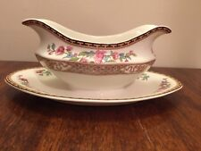 Johnson Brothers INDIAN TREE (CREAM) BROWN KEY Gravy Boat Atttached Under Plate