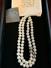 Simon Sebbag 2 strand pearl necklace w/sterling silver clasps & beads