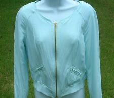 Ladies Candie's Mint Green Soft Rayon Zip Lined Jacket Sz Medium