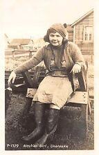 Real Photo Postcard Aleutian Girl in Unalaska, Alaska~109670