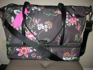 VERA BRADLEY MIDTOWN LARGE TRAVEL BAG AIRY FLORAL (SHOE COSMETIC AREA) NWT