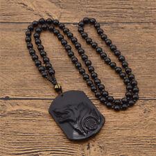 Schwarz Kristall Wolf Kopf Anhänger Halskette Unisex Schmuck Geschenk Mode Neu