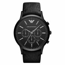 Original Emporio Armani Herrenuhr AR2461 Leder Chronograph Black Neu & Ovp