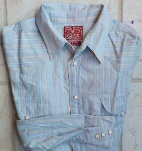 Lucky Brand Striped Western Shirt Pearl Snaps Light Blue Medium