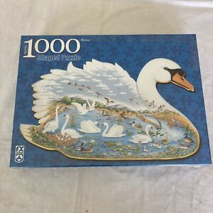 """Swan Lake Shaped Puzzle 1000 Pieces - 21 1/2"""" X 36"""" Inches New & Sealed"""