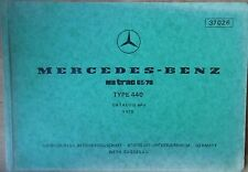 Mercedes MB track 65 , 70  Typ 440 Ersatzteilliste