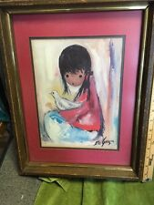 "De Grazia ""indian Girl "" Print 18""x13"" X2"" Wood Frame Non Reflective Glass"