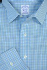 Brooks Brothers Men's Light Blue Yellow Check Cotton Dress Shirt 16 x 32