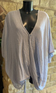 Designed & Made In Italy Ladies Boho Layering Wrap over Striped Top 1Size 10-24