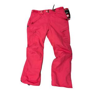 686 Womens Smarty Cargo Snowboard Ski Snow Pants L Pink Fuchsia Diamond Dobby