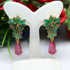 NATURAL 5 x 11 mm. PEAR CABOCHON RED RUBY & GREEN EMERALD EARRINGS 925 SILVER