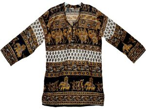 Indian Ethnic Top Ladies Long T V Blouse Casual Tops Women Uk Shirt Sleeve Neck