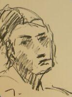 "JOSE TRUJILLO - Original Charcoal Paper Sketch Drawing 9X12"" PORTRAIT WOMAN"