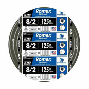 NEW Southwire Romex 8/2 125 ft wire NM-B 125 ft Electrical Wire - 28893602 QIK