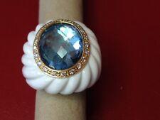 Ladies Blue Topaz & Diamond Porcelain Ring - 18k Yellow Gold