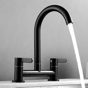 Traditional Kitchen Sink Bridge Mixer Tap Dual Lever Swivel Spout 2 Hole Deck //