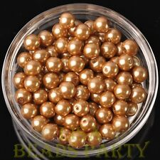 New 30pcs 8mm Round Glass Pearl Loose Spacer Beads Jewelry Making Gold