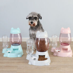 Pet Dog Cat Bowl Dog Fountain Automatic Water Food Feeder Dispenser Container