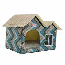 Pet Dog Cat House Beds Indoor Tent Cushion Mat Double Roof Fold House M Blue