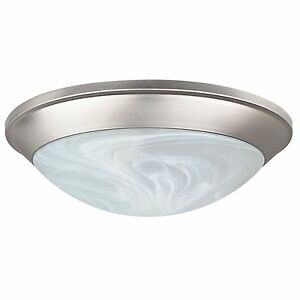 Sunset Satin Nickel Flush Mount Ceiling Light With Faux Alabaster Glass Shade