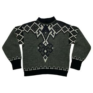 Vintage 80s Puritan Ski Lift Nordic Design Geometric Knit Sweater Mens Size M