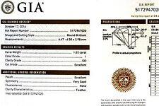 Loose GIA certified 1.02ct SI2 I brilliant round diamond 6.47x6.50x3.98mm estate