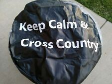 """JEEP Spare Tire Cover STAY CALM AND KEEP COUNTRY Dia 32"""" W 10"""" Black Elastic Fit"""