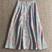VINTAGE Size 4 RALPH LAUREN Prairie Country Floral Hip Pleated Button Skirt