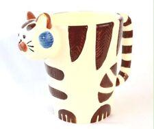 Tabby Cat Head Coffee Tea Mug Hand Painted Unique 3-D Cup