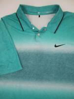 Mens Medium Nike Golf Tiger Woods TW Velocity Glow Stripe blue snap polo shirt