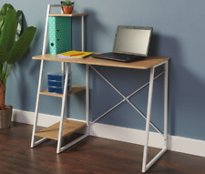 Computer Desk Workstation Table With 3 Shelf Office Home Wood - 24HR Delivery
