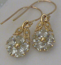 ANTIQUE Insp 9ct Solid Gold NATURAL GREEN Amethyst & Pearl BLOSSOM Earrings E9