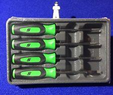 Snap On 4 piece Mini Tip Instinct Screwdriver Set in EXTREME GREEN SGDX40BG NEW