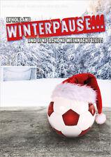 A6 Postkarte Weihnachtskarte Karte Fußball Erholsame Winterpause u. frohes Fest