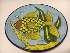 "Talavera Mexican Pottery Fish Plate 8"" Lead Free Hand Painted Yellow Green Blue"