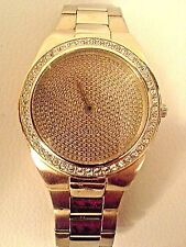 GUESS-Gold and Rhinestone-Analog-Quartz Wrist Watch-Iced Out