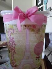 """pink eiffel tower balloon Decorative Trash Can 12"""" high Bathroom Laundry Bath"""