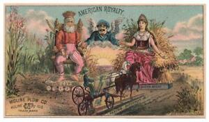 Scarce Moline Plow Co. trade card  King Corn & Queen Wheat  Farming  Agriculture