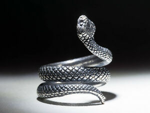 Snake Ring, Silver-Plated Brass, Adjustable Size, Handmade