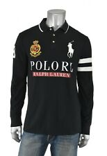 Polo Ralph Lauren Black Custom Slim Fit Embroidered Big Pony RL Crest Shirt New