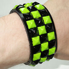 Green Pyramid Stud Bracelet Wristband Bangle Mens Womens Girls Boys Jewellery