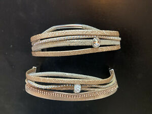 2 X Suede / Leather Cuffs Bangles Rose Gold Pale Gold Diamante Magnetic