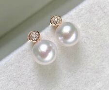 14k Yellow Gold over 925 Sterling Silver White Round CZ Pearl Stud Earrings