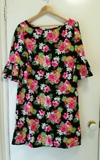NEW Tropicana Flower Shift dress with back ruffle, size 12-14