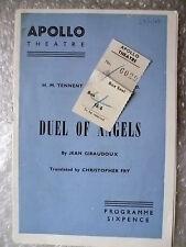 1958 Theatre Programme+TICKET-DUEL OF ANGELS- VIVIEN LEIGH,ANN TODD,J Giraudoux