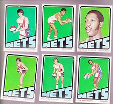 1972 /  73 Topps ABA Team SET Lot of 6 New York NETS NM- CARTER PAULTZ
