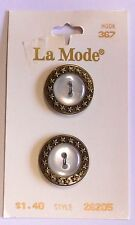 """New Vintage La Mode Buttons on card - lot of 2 Ant Gold Size 19MM (3/4"""") 26205"""