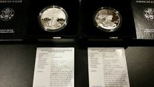 1999-P and 2000-P Silver Eagle Proof coins - GEMS - with boxes and COAs