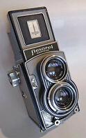 NICE! silver Flexaret VI Automat in leather case • 1967! Model TLR Camera